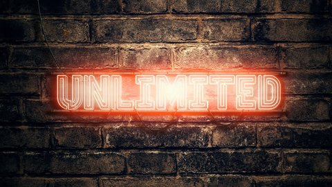 Unlimited neon sign on brick wall, animation