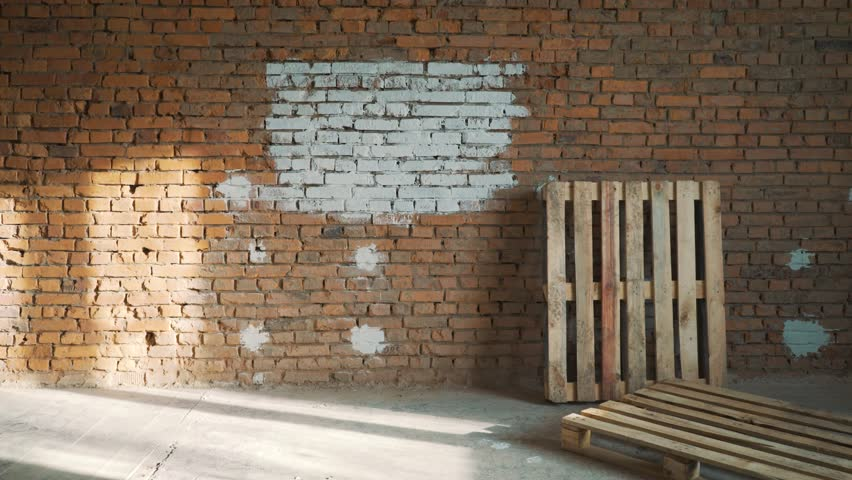 the woman paints a red brick in house in white color #1007936989