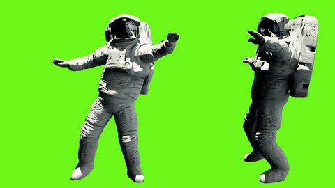 Astronaut dancing hip hop. Loopable animation on green screen. 4k.
