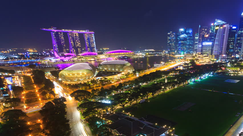 Beautiful Aerial Night Cityscape Of Singapore 4K Time Lapse (zoom out)