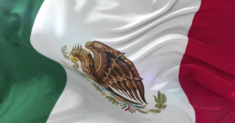 Mexico flag waving at wind, loop