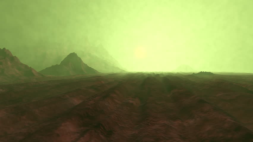 3D rendered Animation of a sunset on Planet Venus.
