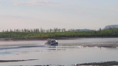 Hovercraft Floating.Kureika River, Putorana Plateau