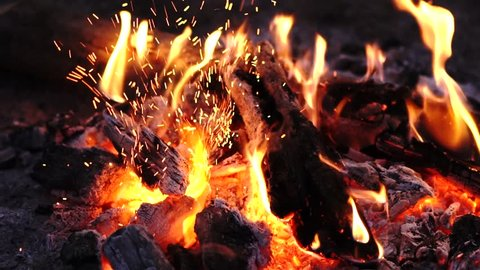 close up bonfire flames of camping fire, Super slow motion burning firewood.
