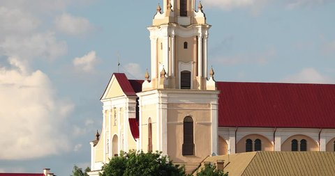 Grodno, Belarus. View Of Bernardine Monastery At Summer Sunny Day. Zoom, Zoom Out.