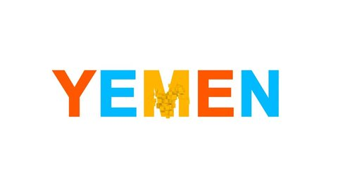 country name YEMEN from letters of different colors appears behind small squares. Then disappears. Alpha channel Premultiplied - Matted with color white