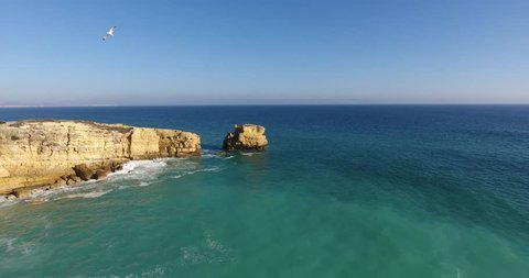 Aerial view - Drone footage 4K of S. Rafael Beach - Algarve - Portugal