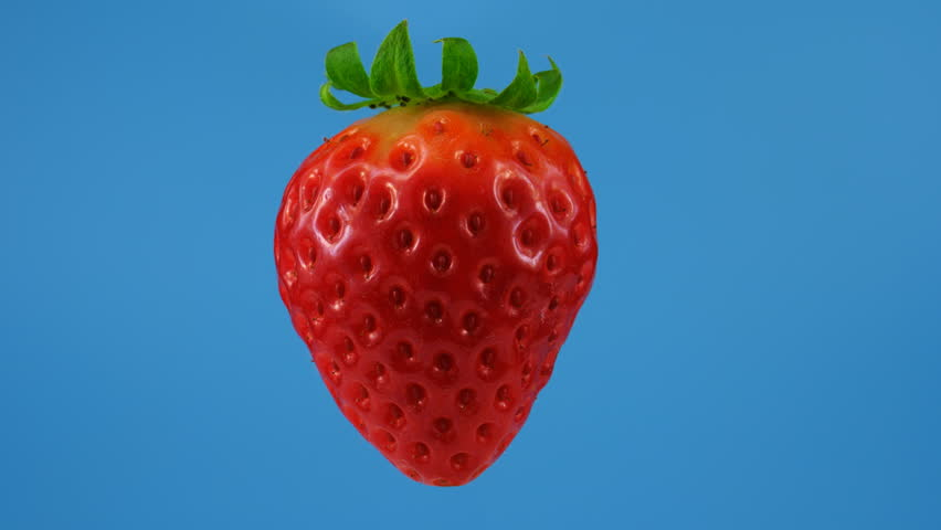 Red strawberry, looped rotation, isolated on blue background, ready to keying, ProRes codec, 422 HQ
