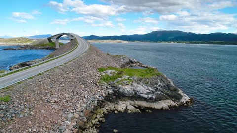 Aerial view Atlantic Ocean Road or the Atlantic Road (Atlanterhavsveien) been awarded the title as (Norwegian Construction of the Century). The road classified as a National Tourist Route.