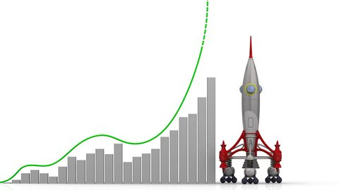 The graph of ROI (Return On Investment) growth. Graph of rapid growth with word ROI (Return On Investment) and rocket launch. Footage video