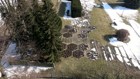 Aerial view of the park, early spring, late winter