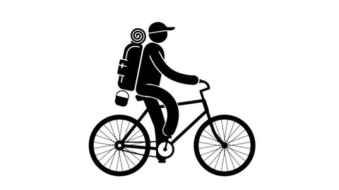 Pictogram cyclist tourist with large backpack rides bike on  hike. Looped animation with alpha channel.