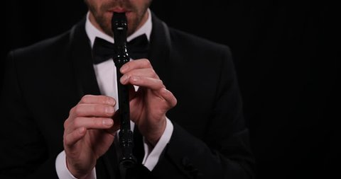 Recorder Flute Player Musician Man Play Flutist Sing Close Up Orchestra Concept