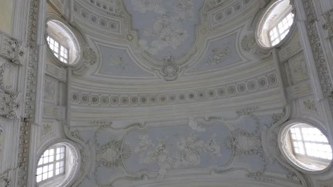 TURIN, ITALY - CIRCA FEBRUARY, 2018: Diana Gallery ceiling view in Venaria Royal Palace - Reggia Venaria. It was the former royal residence of the Savoy family.