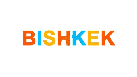 capital name BISHKEK from letters of different colors appears behind small squares. Then disappears. Alpha channel Premultiplied - Matted with color white