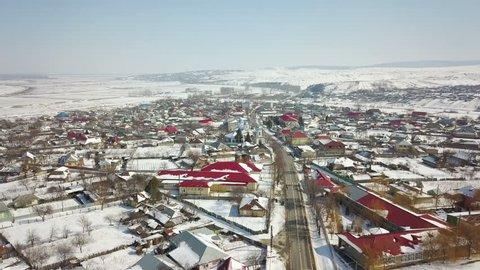 Aerial view of a small village in the danube delta, winter landscape