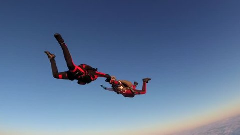 Skydiving. Slow motion in the sky.