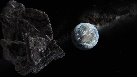 Asteroid approaching Earth. 3D animation. Texture map courtesy of NASA