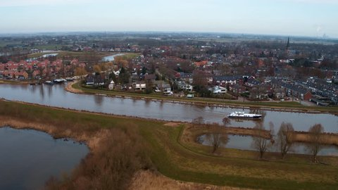 Aerial view of Terheijden, a small village in Noord-Brabant, The Netherlands. Shot by drone.