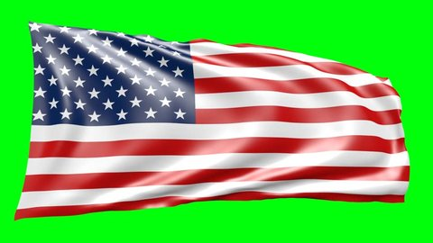 3d animation of american flagg, moving in wind, on green screen can be used as background
