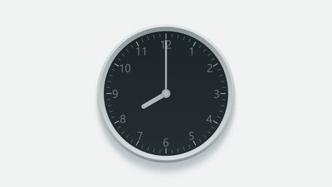 Office wall clock measuring off working hours from 8 a.m. to 4 p.m. Time lapse animation