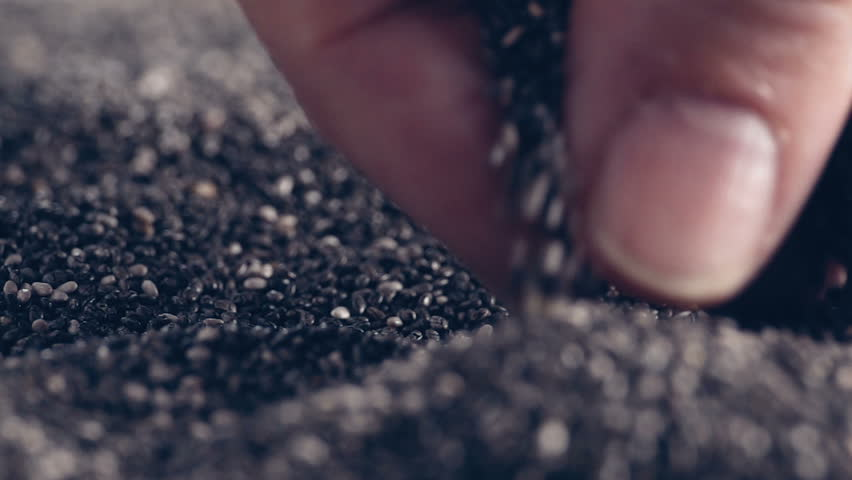 Chia Seeds authentic Slow-Motion falling on wooden table, close up