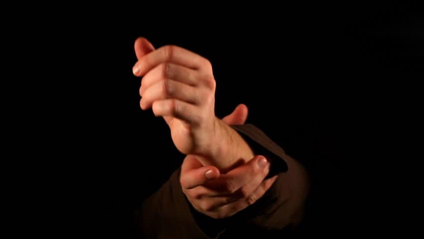 Preparation to fight gesture on black background