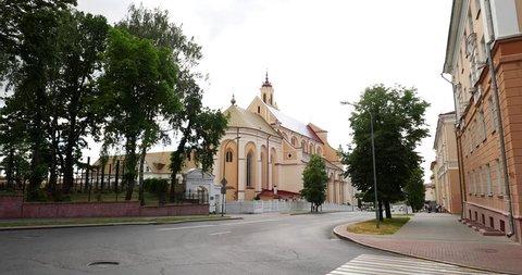 Grodno, Belarus. View Of Bernardine Monastery At Summer Day. Zoom, Zoom In.