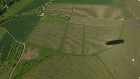 Shadow of the zeppelin,flight over landscape in southern Germany,  Bermatingen, may 2013,