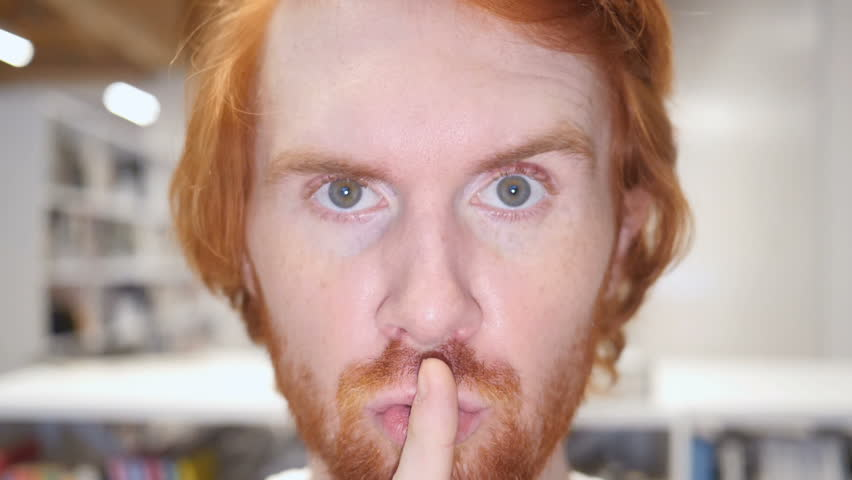 Slow Motion of Silence Gesture by Man, Silent Close Up