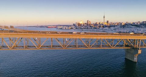 Aerial Shot Of Auckland Harbour Bridge, Sailboats, Westhaven marina & City Skyline, New Zealand
