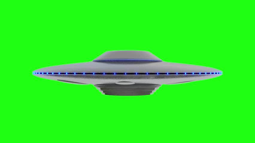 UFO - Flying Saucer with Blue lights rotating infinite repeat loop - isolated on green screen background | Shutterstock HD Video #1008638059