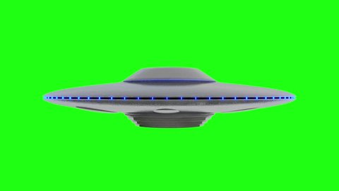 UFO - Flying Saucer with Blue lights rotating infinite repeat loop - isolated on green screen background