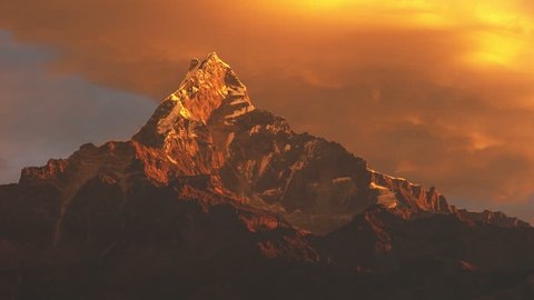 Annapurna base camp trek, View on the summit of the mountain Machapuchare at sunrise, Nepal, asia.