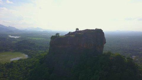 Aerial view of Sigiriya rock at the morning Sri Lanka drone footage