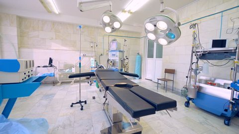 Empty modern surgery room. Operating room with modern medical equipment. No people.