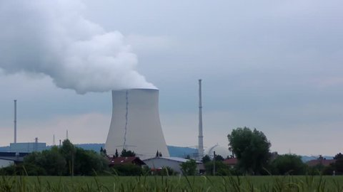 4K footage of the Isar 2 nuclear power plant in Essenbach, Germany. Germany's 17 nuclear power stations will be shut down by 2022.