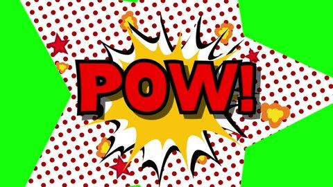 POW - word speech balloons comic style animation, 4K retro cartoon comics animation on green screen