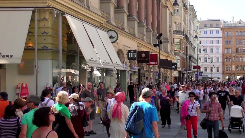 VIENNA, AUSTRIA - JUNE 6, 2015: 4K footage of unidentified people on June 6, 2015, in Vienna, Austria. In 2013, Vienna was ranked the worlds most livable city for the fifth consecutive year.