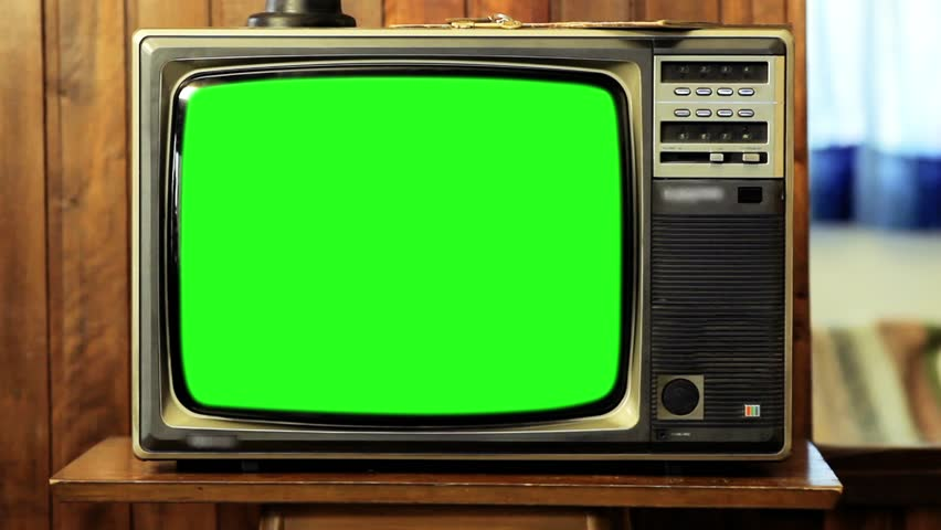 "80s TV Green Screen in a Living Room. Zooming Out Slow. You can replace green screen with the footage or picture you want. You can do it with ""Keying"" (Chroma Key) effect in AE (check out tutorials). 