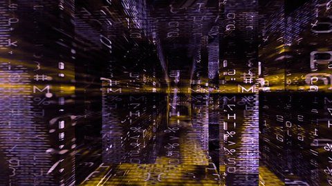 Video Background 2360: Traveling through a digital labyrinth of data screens (Loop).