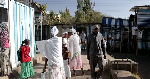 GONDAR, ETHIOPIA - JANUARY 18, 2017: Ethiopia Falash Mura Jews community soup kitchen