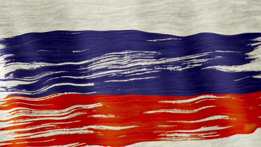 Closeup of art brush watercolor painting Russian flag blown in the wind. | Shutterstock HD Video #1008705169
