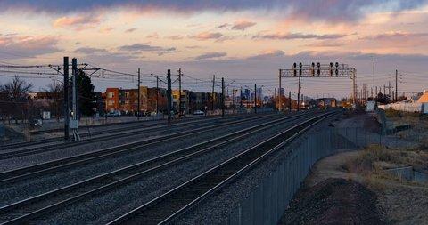 Light Rail Transit Train with Drone in Denver, Colorado