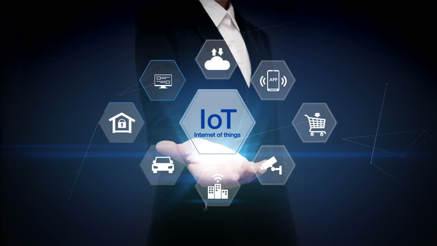 Businesswoman open palm, IoT hexagon icon, Home security, cctv, smart city, mobile app, car, internet of thing.