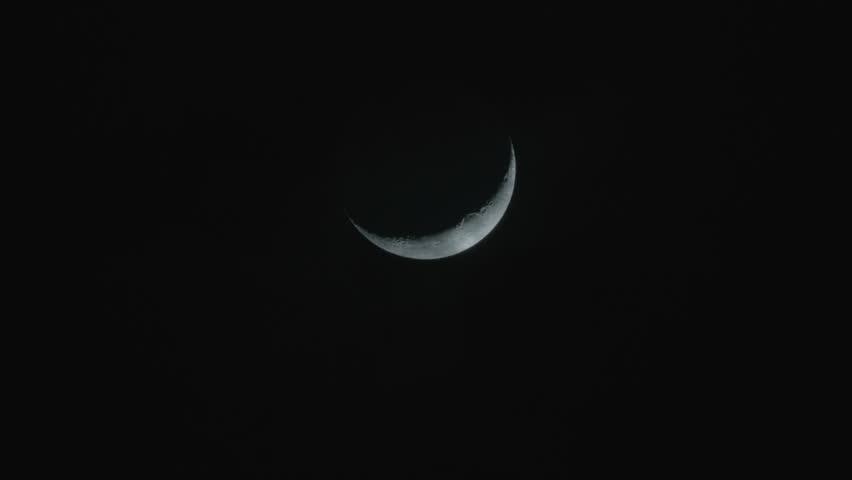 Ramadan moon in the night sky.