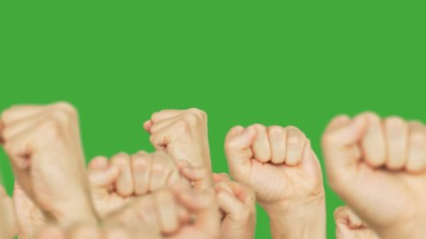 Crowd people with clenched fists up walking forward on protest meeting green background. Crowd moving up hand fists on green chroma key background. Alpha channel, keyed green screen.