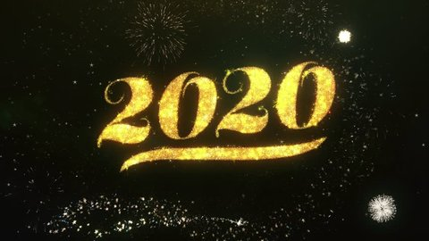 Happy new year 2020 Text Greeting and Wishes card Made from Glitter Particles and Sparklers Light Dark Night Sky With Colorful Firework 4k Background.