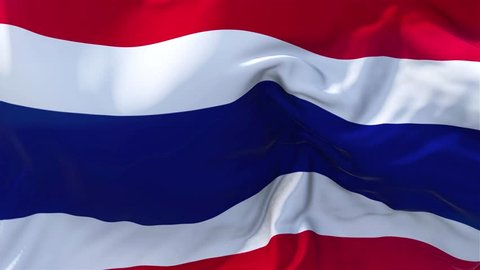 Thailand Flag in Slow Motion Classic Flag Smooth blowing in the wind on a windy day rising sun 4k Continuous seamless loop Background