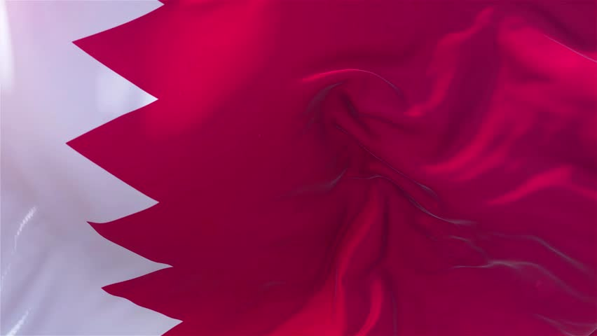 Bahrain Flag in Slow Motion Classic Flag Smooth blowing in the wind on a windy day rising sun 4k Continuous seamless loop Background